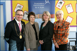 PHOTO: Bailie Gordon Matheson, Glasgow City Council; Dr Janet Brown, SQA Chief Executive; Mrs Donalda McComb, Head Teacher of the Glasgow Gaelic School and Cathy MacDonald, journalist and presenter at the launch of the 5-14 Assessment Bank in Gaelic at the Glasgow Gaelic School