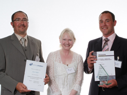 PHOTO: Winners of the Team Development Award, Morris Martin and Denis Tweedle with SQA HR Director, Maidie Cahill