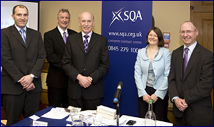 PHOTO: Andrew Harper (Macphie of Glenbervie), Garry Allan (Motherwell College), Ken Laurie (Grampian Country Food Group), Elaine Snell (SQA) and Gordon Rodgers (SQA)
