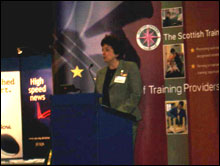 IMAGE: Dr Janet Brown, SQA Chief Executive giving her keynote address at the STF Annual Conference