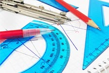 Maths instruments: ruler, compass, pencil