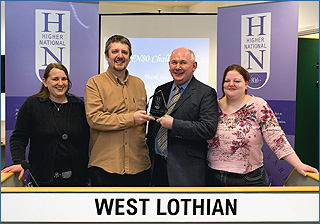 PHOTO: West Lothian College, from left: Jennifer Robertson, David Weatherston, Question Master Walter Paul, and Kelly McKay.