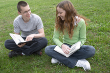 Philosophy two students discussing books