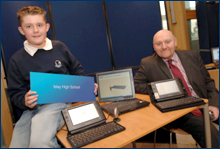 IMAGE: Islay High School demonstrates its portable PCs