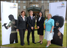 PHOTO: Chris Blake and Julie Doig meeting Fiona Hyslop MSP, Cabinet Secretary for Education and Lifelong Learning and Maureen Watt MSP, Minister for Schools and Skills at Gleneagles Hotel