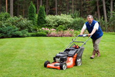 Man cutting lawn