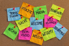 Collection of post it notes saying welcome in different languages