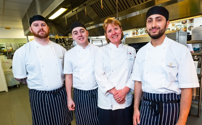 Apprentice Chef's from Cameron House are pictured with Sarah Dalrymple of SDConsultancy