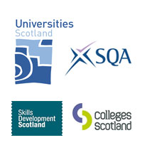 logos of SQA, SDS, Colleges Scotland and Universities Scotland
