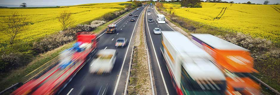 fast moving trucks on motorway
