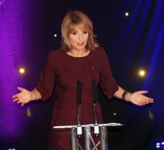 Kaye Adams on stage presenting SQA Star Awards 2018