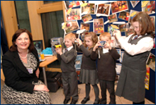 IMAGE: Fiona Hyslop with children from Dens Primary School, Dundee.