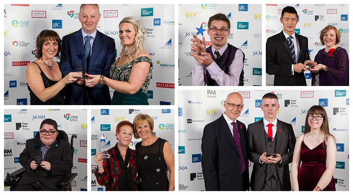 Photo collage of Star Award winners holding their trophies