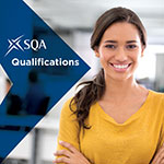 image of woman smiling with text overlay sqa qualifications