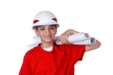Work Experience boy with hard hat and plans